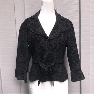 Free People Brocade Blazer With Ribbon Tie
